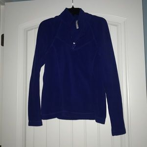 Blue quarter-zip fleece